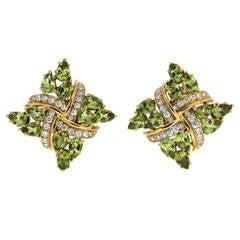 Peridot Diamond Gold Criss Cross Earrings