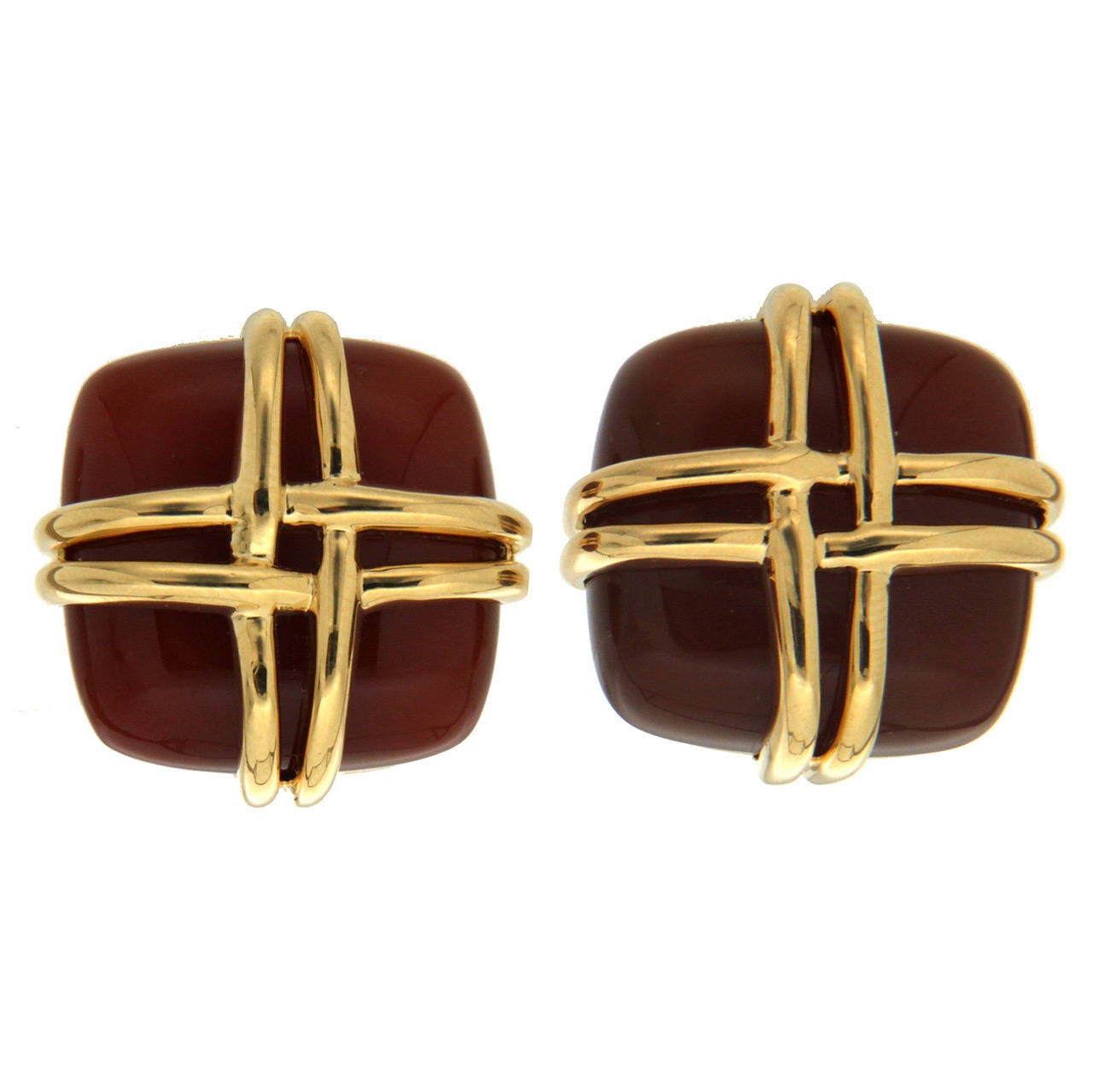 Valentin Magro Carnelian Woven Gold Square Earrings For Sale