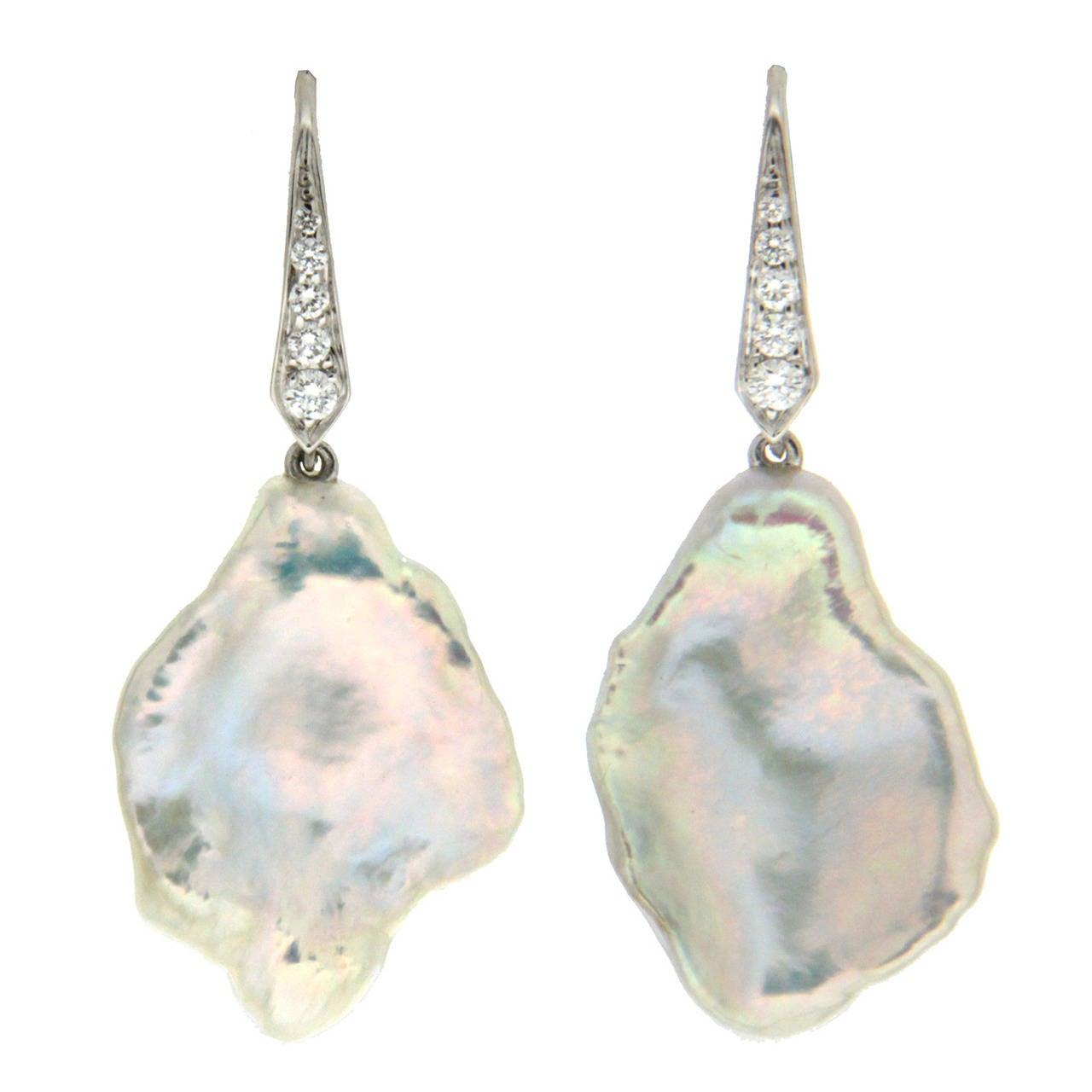 Valentin Magro Freshwater Pearl Diamond Gold Drop Earrings 1