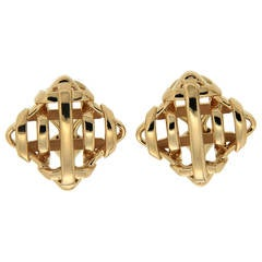 Gold Trellis over Under Earrings