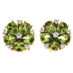 Pear Shaped Peridot Diamond Gold Cluster Earrings
