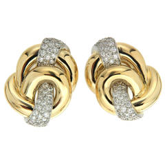 Diamond Gold Platinum Double Circle Earrings