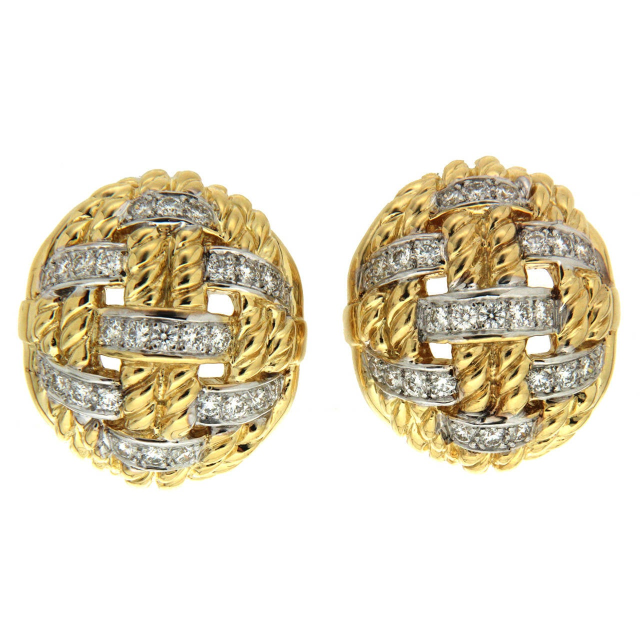 Diamond Gold Woven Rope Earrings For Sale