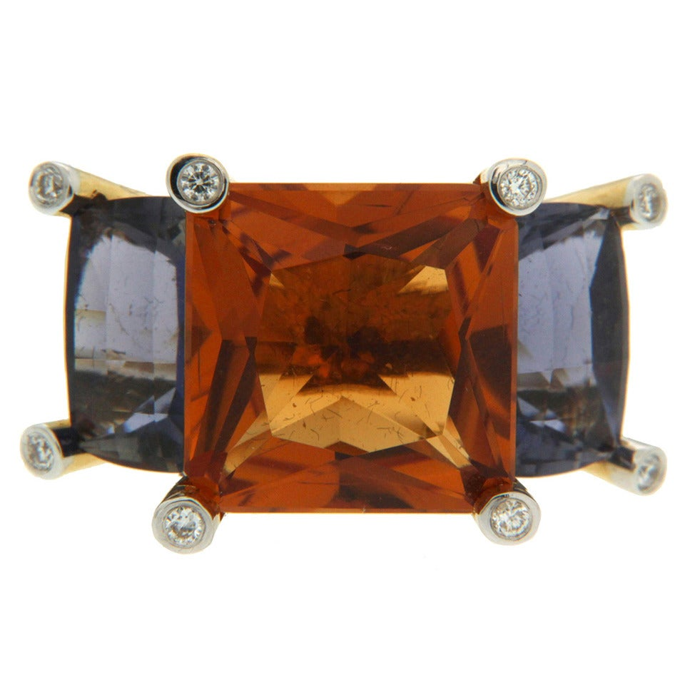 Valentin Magro Colori Princess Citrine Iolite Diamond Gold Three Stone Ring