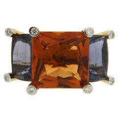 Colori Princess Citrine Iolite Diamond Gold Three Stone Ring