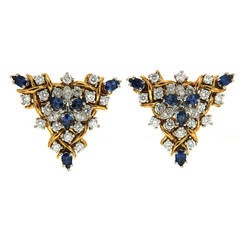 Sapphire Diamond Gold Triangular Vine Earrings