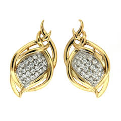 Valentin Magro Diamond Gold Multi Line Swing Motif Earrings