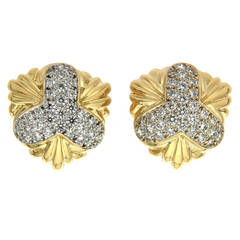 Valentin Magro Gold Pave Diamond Clover Earrings