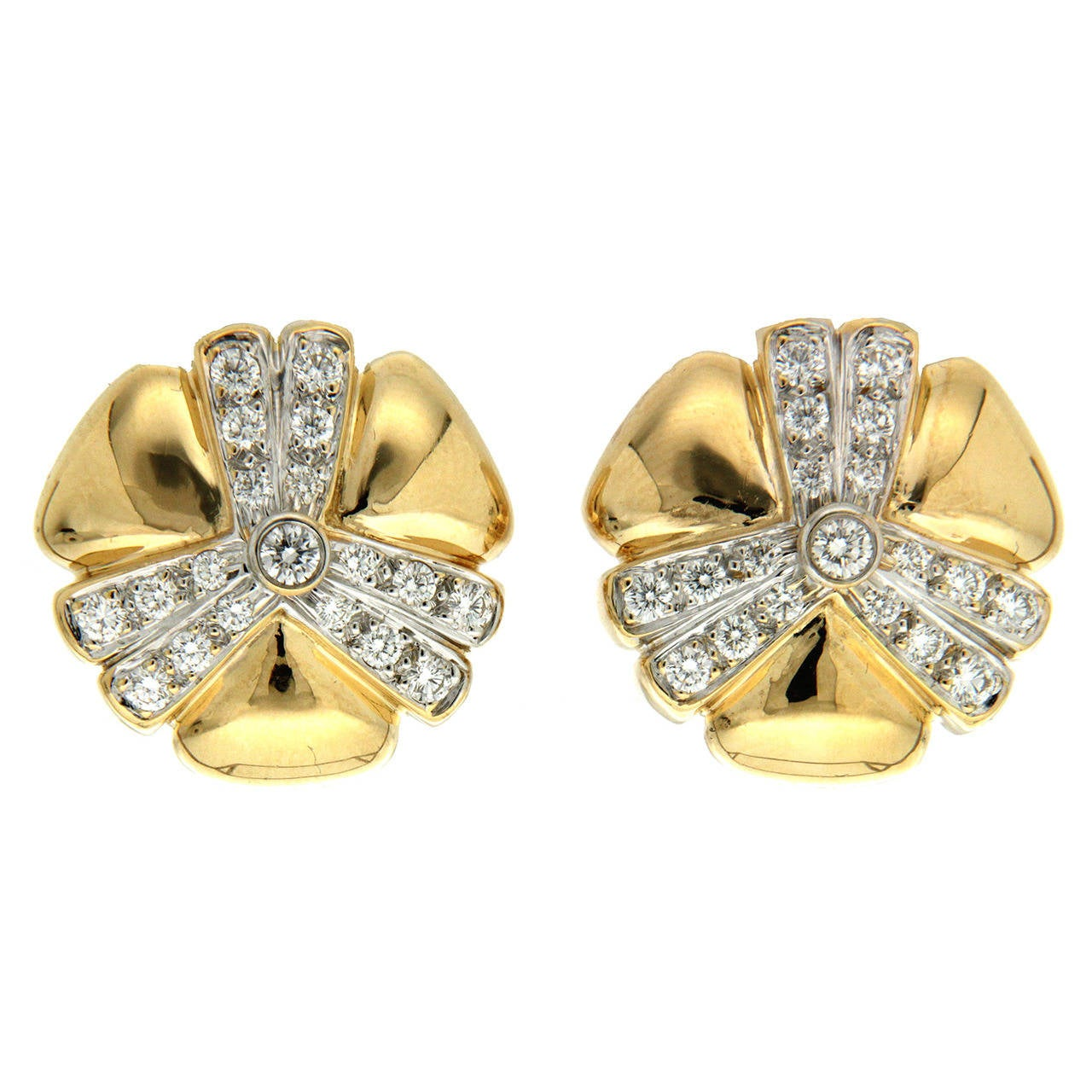 Valentin Magro Pave Diamond Gold Mercedes Earrings