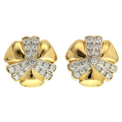 Pave Diamond Gold Mercedes Earrings