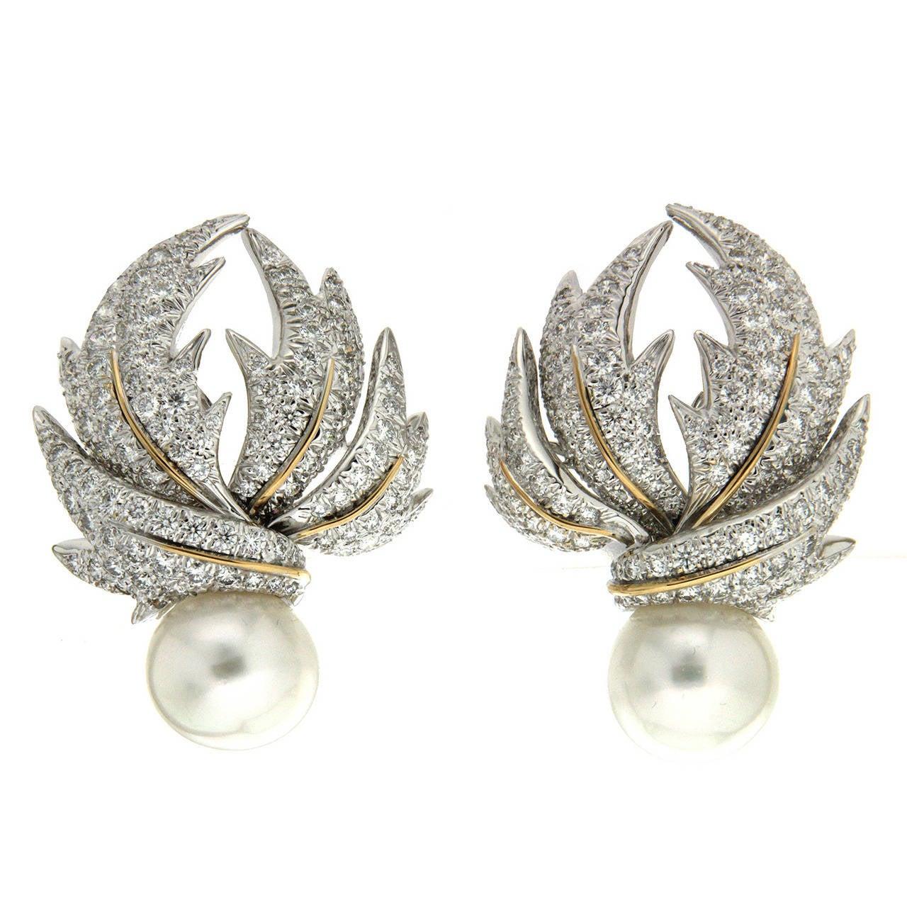 Valentin Magro Diamond Pave Multi-Leaf Earrings   1