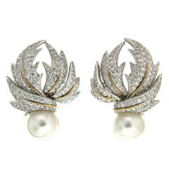 Pave Multi-Leaf Earrings with Pearls