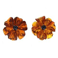 Sapphire Cabochon Amber Gold Flower Earrings