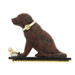 Valentin Magro Obsidian Diamond Gold Black Labrador Dog Brooch