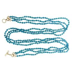 Long Multi-Strand Turquoise Nuggets Necklace