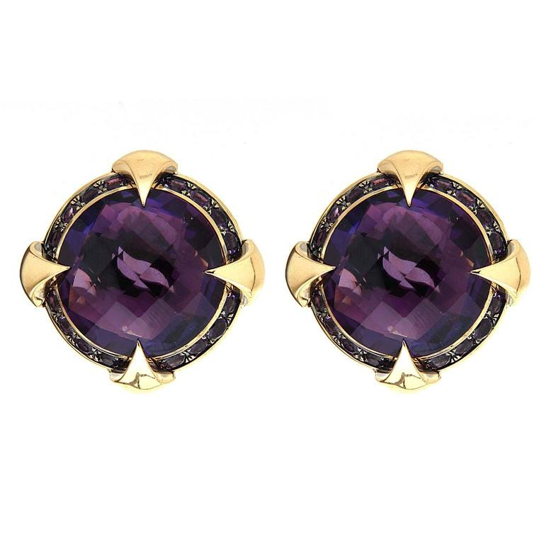 Valentin Magro Round Checkerboard Amethyst Gold Earrings