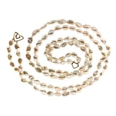 Double Strand Keshi Pearl Gold Necklace