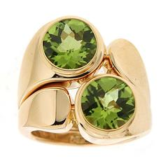 Asymmetric Double Peridot Gold Ring