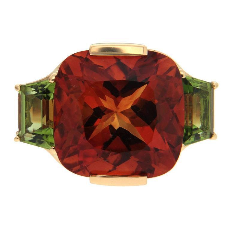 Valentin Magro Cushion Citrine Peridot Gold Ring