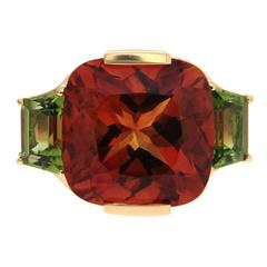 Valentin Magro Cushion Citrine Peridot Gold Ring