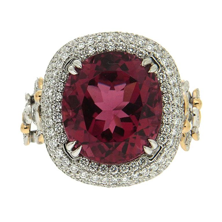 Valentin Magro Oval Rubellite Diamond Gold Platinum Butterfly Ring