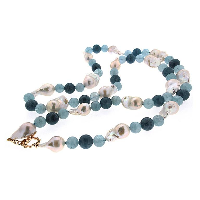 Fresh Water Baroque Pearl Aquamarine Gold Necklace