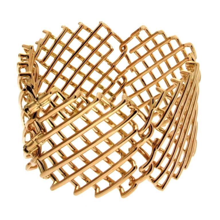 Valentin Magro Knotted Mesh Net Wrist Armlet 18KT Yellow Gold Bracelet