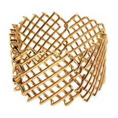 Valentin Magro Knotted Mesh Net Wrist Armlet 18KT Yellow Gold Bracelet
