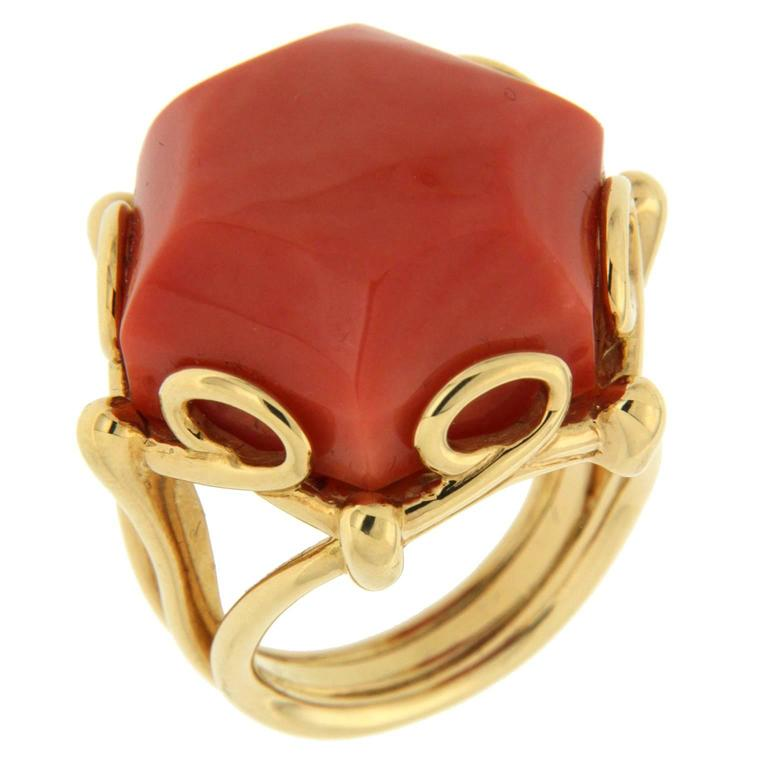 Valentin Magro Geometrica Hexagon Shaped Coral Gold Ring