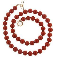 Valentin Magro Round Dark Red Coral Bead Gold Necklace