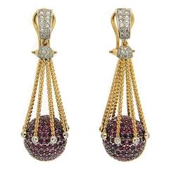 Valentin Magro Pave Ruby Diamond Gold Ball Earrings