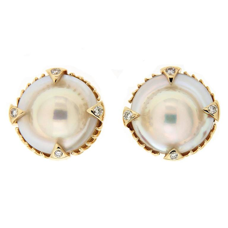 Valentin Magro Blister Pearl Diamond Gold Earrings with Claw and Spike Motifs