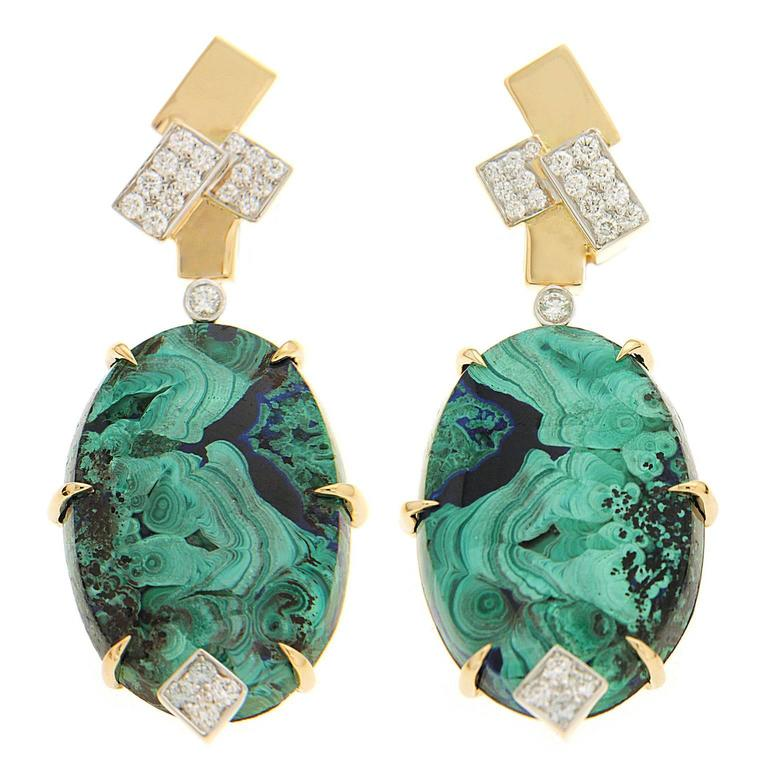 Oval Azurite Malachite Diamond Gold Geometric Top Motif Earrings 1