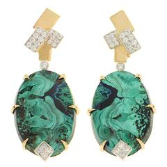 Oval Azurite Malachite Diamond Gold Geometric Top Motif Earrings