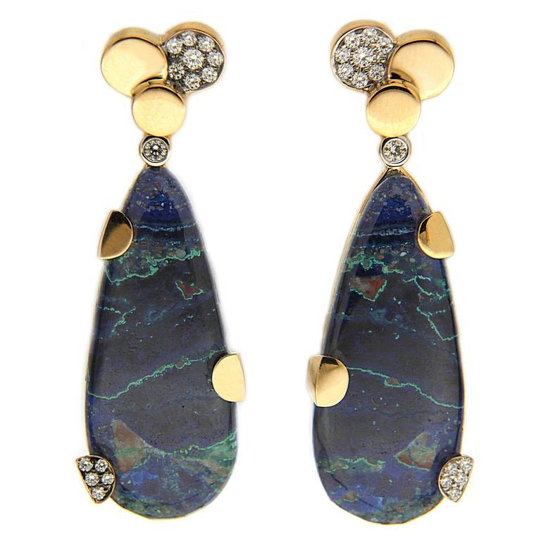 Chrysocolla Malachite Gold Earrings with Pave Diamond Circles 1