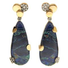 Chrysocolla Malachite Gold Earrings with Pave Diamond Circles