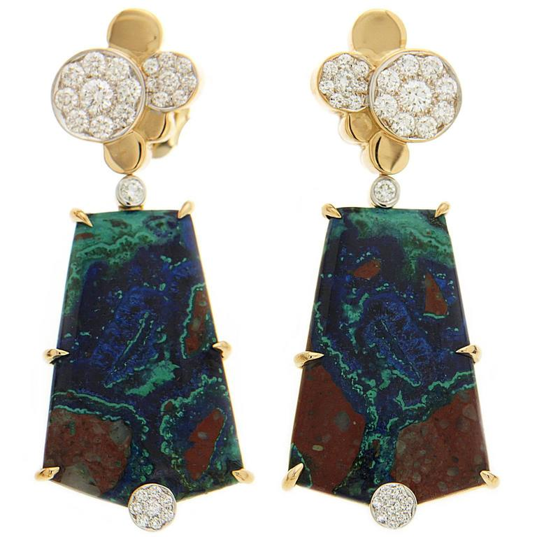 Azurite Malachite Earrings with Pave Diamond Circles For Sale
