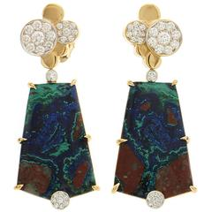 Azurite Malachite Earrings with Pave Diamond Circles