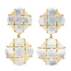 Cushion Mother-of-Pearl Crystal Gold Dangling Earrings