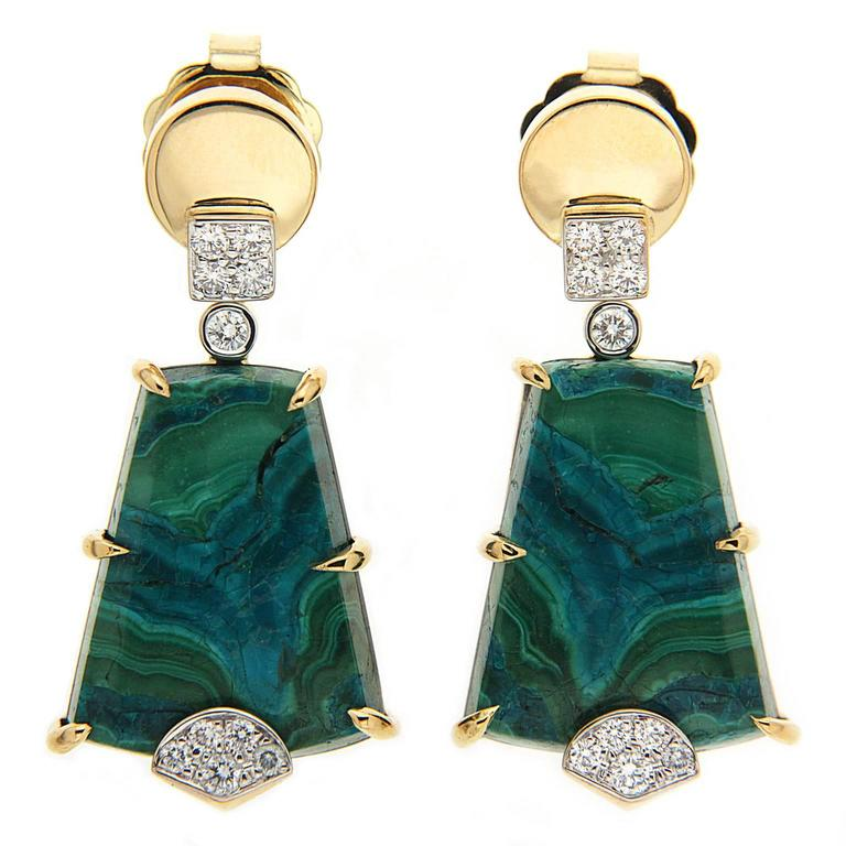 Valentin Magro Chrysocolla Malachite Earrings with Pave Diamonds For Sale