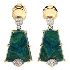 Valentin Magro Chrysocolla Malachite Earrings with Pave Diamonds