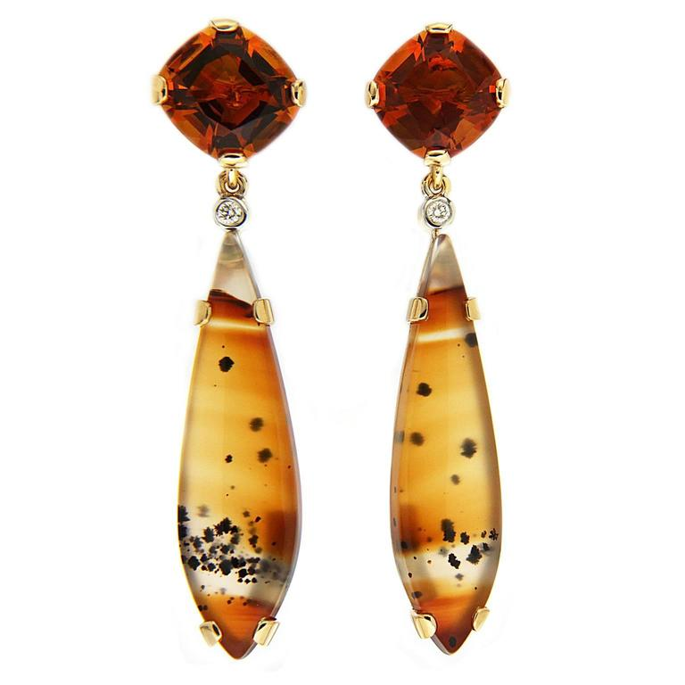 Cushion Citrine and Montana Agate Removable Earrings  1