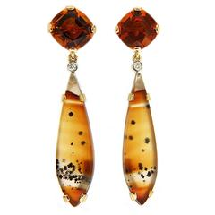 Cushion Citrine and Montana Agate Removable Earrings