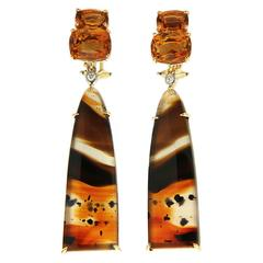 Valentin Magro Double Cushion Citrine and Montana Agate Removable Earrings
