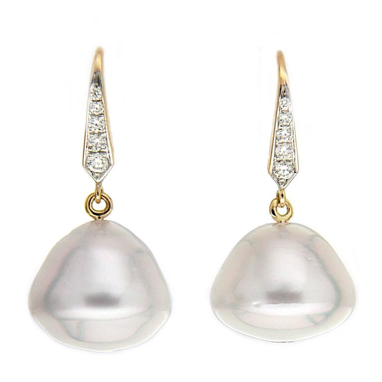 Valentin Magro Baroque South Sea Pearl Diamond Gold Lever Back Earrings