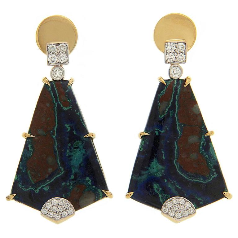 Valentin Magro Special Cut Azurite Malachite Earrings with Diamond Pave Motifs For Sale