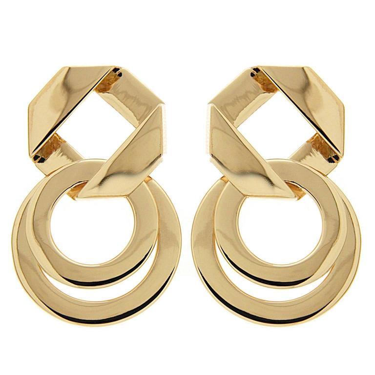 Valentin Magro Fold over Geometric Gold Earrings