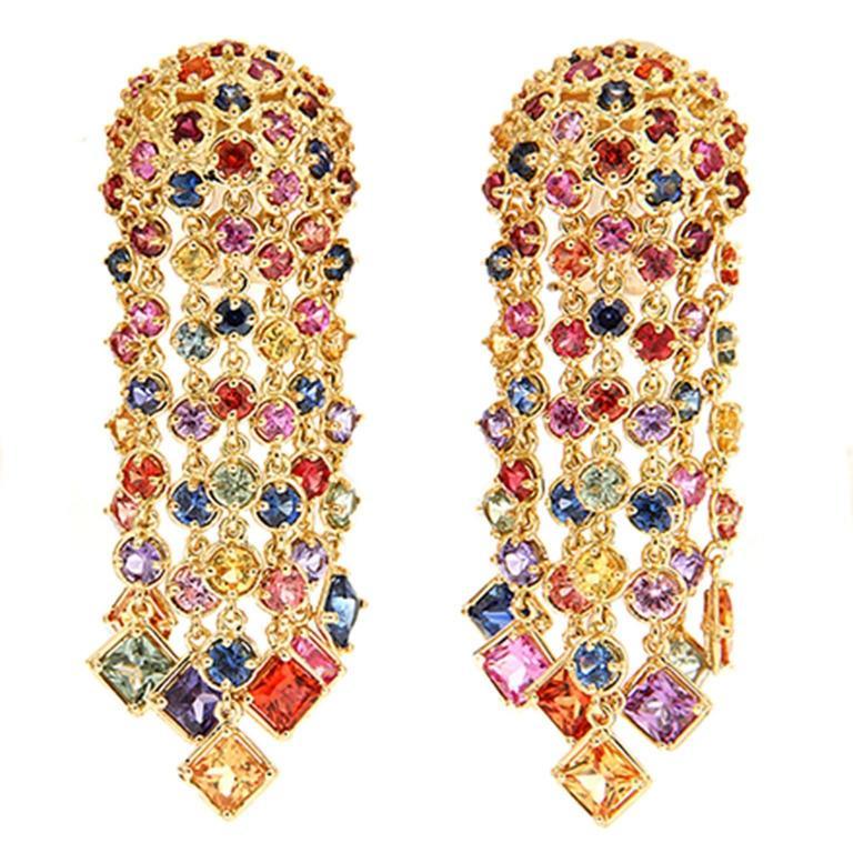 Multicolor Sapphire Cascading Waterfall Earrings 1