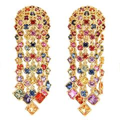 Multicolor Sapphire Cascading Waterfall Earrings