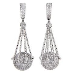 Diamond Pave Gold Ball Earrings